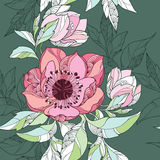 Seamless pattern with Clematis flower in pink on the dark green background Royalty Free Stock Photography