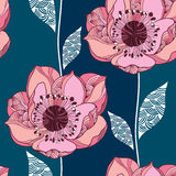 Seamless pattern with Clematis flower in pink and white leaves Royalty Free Stock Photo