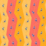 Seamless pattern with climbers on climbing wall. Seamless texture with climbers on climbing wall, on colored background Royalty Free Stock Images