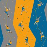 Seamless pattern with climbers on climbing wall. Seamless texture with climbers on climbing wall, on colored background Stock Image
