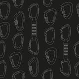 Seamless pattern with climbing carabiners Stock Image