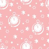 Christmas and New Year 2019 background. Seamless pattern with clock and stars. Christmas and New Year 2019 background. Design for packaging paper, fabric and vector illustration