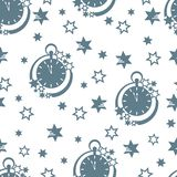 Christmas and New Year 2019 background. Seamless pattern with clock and stars. Christmas and New Year 2019 background. Design for packaging paper, fabric and stock illustration