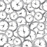 Seamless pattern with clocks and time Stock Images