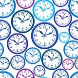 Seamless  pattern with clocks, wake up idea. Simple timers Stock Photography