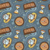 Seamless pattern with clocks and watches Royalty Free Stock Photography