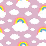Seamless Pattern. Cloud Colorful Rainbow. Cute cartoon kawaii funny baby kids decor. Wrapping paper, textile template. Nursery. Decoration. Violet background stock illustration