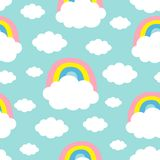 Seamless Pattern. Cloud Colorful Rainbow. Cute cartoon kawaii funny baby kids decor. Wrapping paper, textile template. Nursery. Decoration. Blue background royalty free illustration
