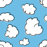 Seamless Pattern of Clouds. A seamless pattern of stylized cumulus clouds Stock Illustration