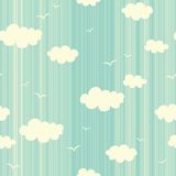 Seamless pattern with clouds and birds Stock Photo