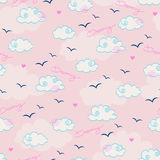 Seamless pattern with clouds and birds Royalty Free Stock Photos