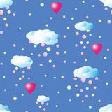 Seamless pattern with clouds and confetti. vector illustration