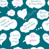 Seamless Pattern of Clouds with Declarations of Love. Vector Ill. Seamless pattern of clouds with declarations of love. Vector seamless pattern on a dark Stock Photo