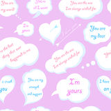 Seamless Pattern of Clouds with Declarations of Love. Vector Ill Stock Photo
