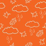 Seamless pattern with clouds and leaves Stock Image