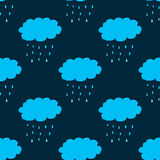 Seamless pattern with clouds and precipitation Stock Photo