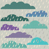 Seamless pattern with clouds and rain Royalty Free Stock Image