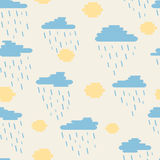 Seamless pattern, clouds, rain and sun created of rounded lines. Rainy, sunny day Stock Image