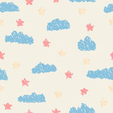 Seamless pattern, clouds, rain and sun created of rounded lines. Rainy, sunny day Royalty Free Stock Photos