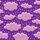 Seamless pattern of clouds and rain Stock Photo