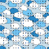 Seamless pattern with clouds and rain, the weather. For textiles, interior design, for book design, website background Royalty Free Stock Image