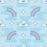 Seamless pattern with clouds and rainbows in flat linear style stock illustration
