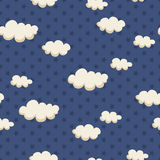Seamless pattern with clouds and stars Royalty Free Stock Image