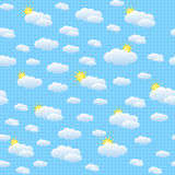 Seamless pattern with clouds and sun. On dotted blue background Royalty Free Stock Photo