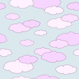 Seamless Pattern with clouds. Vector seamless pattern with pink clouds Stock Illustration