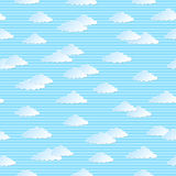 Seamless pattern with clouds. Seamless pattern with white clouds on blue striped background Stock Photo