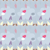 Seamless pattern with a cloudy sky. Seamless pattern the cloudy sky, flowers and birds Royalty Free Stock Photography