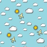 Seamless pattern with clounds, suns and airplanes Royalty Free Stock Images