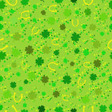 Seamless pattern with clover and horseshoe Stock Photography
