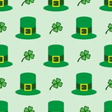 Seamless pattern with clover leaves and bowler hat. Simple vector illustration vector illustration