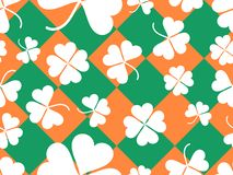 Seamless pattern with clover leaves. St. Patrick`s Day background with shamrock. Vector stock illustration