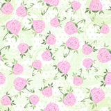 Seamless pattern with clover on the  polka dots background Royalty Free Stock Photography