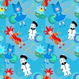 Seamless pattern clowns  Stock Image