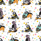 Seamless pattern with clowns and points. Raster illustration Royalty Free Stock Images