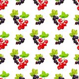 Seamless pattern of clusters of berries of red currant and black smrodina on a branch in low poly style on a white background stock illustration