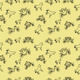 Seamless pattern with Coaches and horses Royalty Free Stock Images