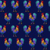 Seamless pattern with cock. Fire cock. Symbol of 2017. Vector illustration. Seamless pattern with cock. Fire cock. Symbol of 2017 Royalty Free Stock Images