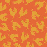 Seamless pattern with a cock silhouette or fire rooster for the new year. Seamless pattern with a cock silhouette or rooster fire for the new year Stock Photography