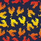 Seamless pattern with a cock silhouette or fire rooster for the new year Stock Images