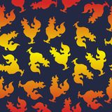 Seamless pattern with a cock silhouette or fire rooster for the. Seamless pattern with a cock silhouette or rooster fire for the new year Stock Images