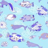 Seamless pattern  with cockleshells  blue fishes Stock Photography