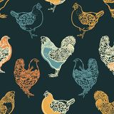 Seamless pattern with cocks and chicken. Poultry. Farming. Livestock raising. Hand drawn. Vector illustration Stock Images