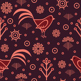 Seamless pattern with cocks Stock Image