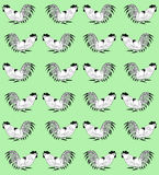 Seamless pattern with cocks on a green background. Seamless pattern with white cocks on a green background.  Roosters  are drawn by hand. Symbol of Chinese Stock Photos