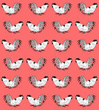 Seamless pattern with cocks on a red background. Seamless pattern with white cocks on a red background.  Roosters  are drawn by hand. Symbol of Chinese horoscope Royalty Free Stock Images