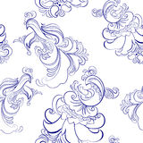 Seamless pattern with cocks. Vector seamless pattern with cocks in Khokhloma style. For package holiday products Stock Photo